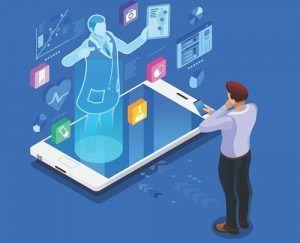 مردی-برای-انتخاب-خدمات-آنلاین-پزشکی-به-موبایل-نگاه-میکند
